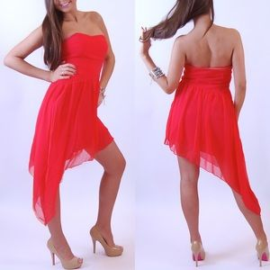Red high low cocktail club evening dress new S M L